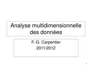 Analyse multidimensionnelle des données