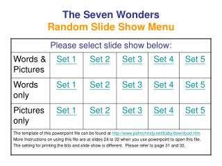 The Seven Wonders  Random Slide Show Menu
