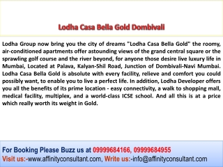 Lodha Casa Bella Gold Dombivali Residential Apartments
