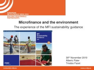 Microfinance and the environment The experience of the MFI sustainability guidance