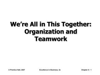 We're All in This Together: Organization and  Teamwork