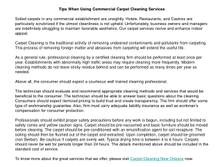Tips When Using Commercial Carpet Cleaning Services
