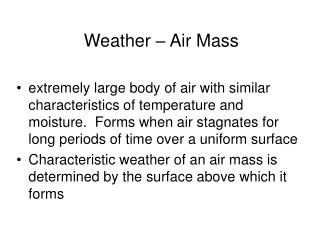 Weather – Air Mass