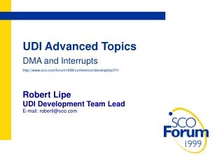 UDI Advanced Topics