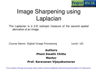 Image Sharpening using Laplacian