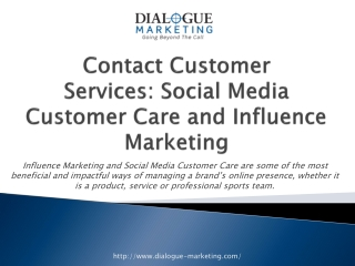 Contact Customer Services: Social Media Customer Care and In