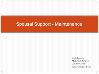 Spousal Support - Maintenance