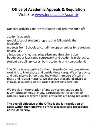 Office of Academic Appeals & Regulation Web Site  leeds.ac.uk/aaandr
