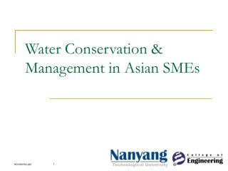 Water Conservation & Management in Asian SMEs