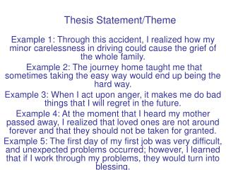 Thesis Statement/Theme