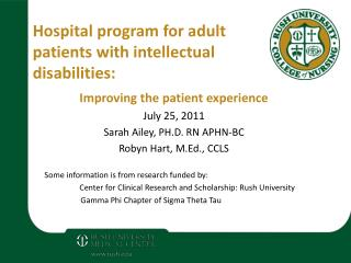 Hospital program for adult patients with intellectual disabilities: