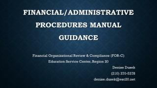 FINANCIAL/ADMINISTRATIVE  PROCEDURES MANUAL guidance