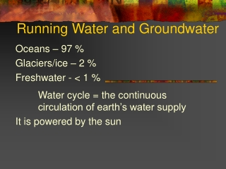 Running Water and Groundwater