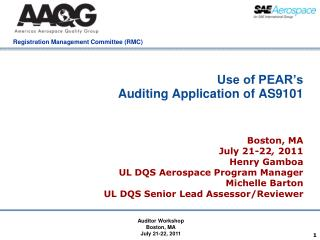 Use of PEAR's  Auditing Application of AS9101