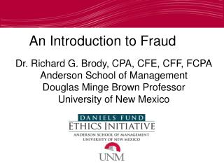 An Introduction to Fraud
