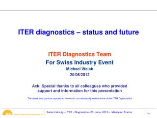 ITER diagnostics – status and future