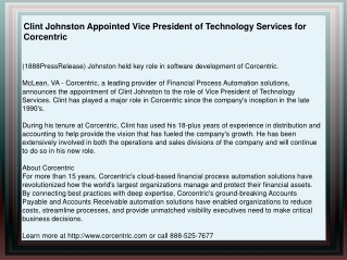 Clint Johnston Appointed Vice President of Technology Servic