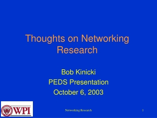 Thoughts on Networking Research