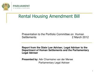 Rental Housing Amendment Bill