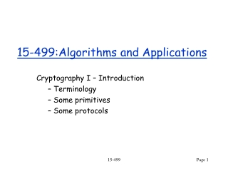 15-499:Algorithms and Applications