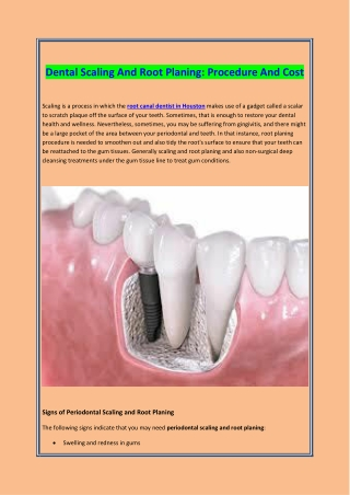 DENTAL SCALING AND ROOT PLANING PROCEDURE AND COST
