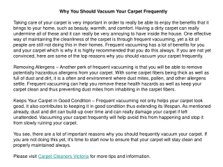 Why You Should Vacuum Your Carpet Frequently