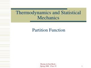 Thermodynamics and Statistical Mechanics