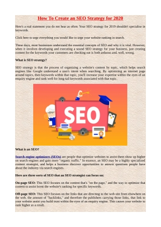 How to Create an SEO Strategy for 2020.