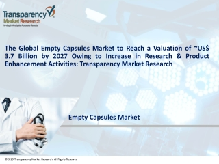 Empty Capsules Market by Application, Functionality, Source, Type, End Users & Forecast 2027 | TMR