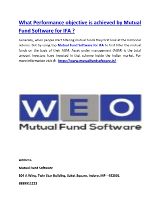 What Performance objective is achieved by Mutual Fund Software for IFA ?