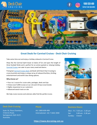 Great Deals for Carnival Cruises - Deck Chair Cruising