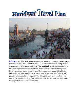 Haridwar Travel Plan