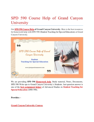 SPD 590 Course Help of Grand Canyon University