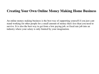 Creating Your Own Online Money Making Home Business