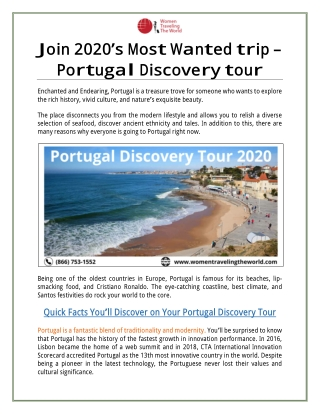 Join 2020's Most Wanted Trip ➡ Portugal Discovery Tour