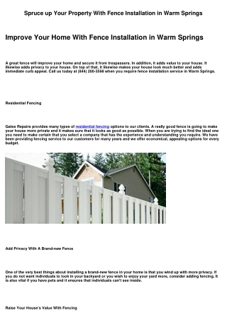 Improve Your House With Fence Installation in Warm Springs