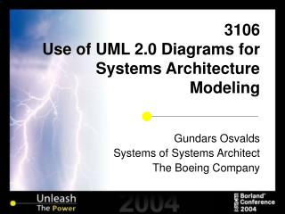 3106 Use of UML 2.0 Diagrams for Systems Architecture Modeling