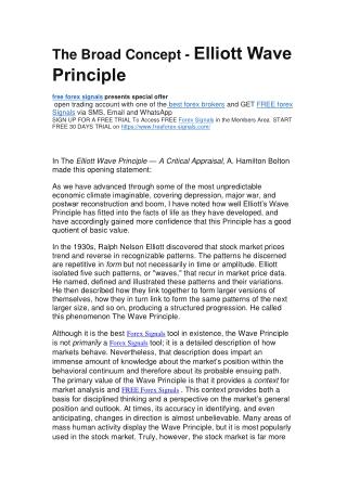 The Broad Concept - Elliott Wave Principle