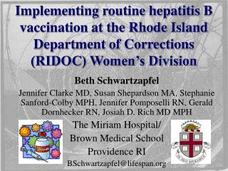Implementing routine hepatitis B vaccination at the Rhode Island Department of Corrections (RIDOC) Women's Division