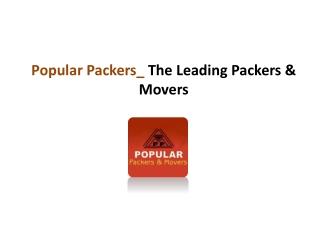 Popular Packers - The Leading Packers & Movers