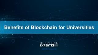 Benefits of Blockchain for Universities