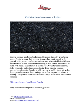 What are Granite and some aspects of Granite:-