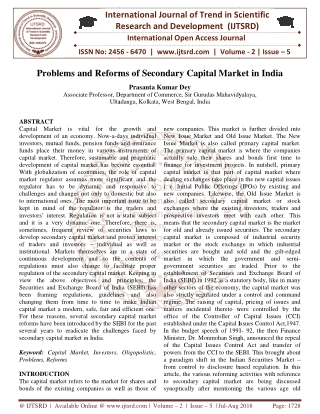 Problems and Reforms of Secondary Capital Market in India
