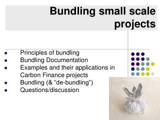 Bundling small scale projects