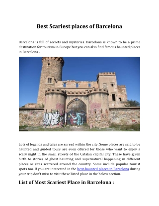 Best Scariest places of Barcelona