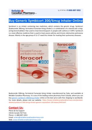 Buy Generic Symbicort 200-6mcg Inhaler Online