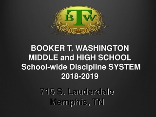 BOOKER T. WASHINGTON  MIDDLE and HIGH SCHOOL School-wide Discipline SYSTEM 2018-2019