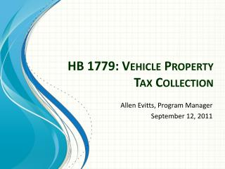 HB 1779: Vehicle Property Tax Collection