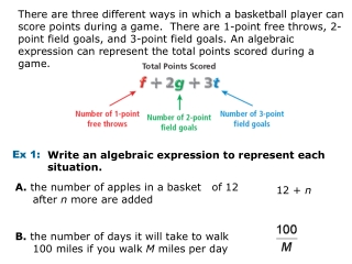 Write an algebraic expression to represent each situation.