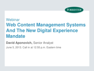 Webinar Web Content Management Systems And The New Digital Experience Mandate